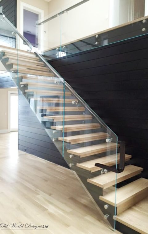 Upstate - Straight staircase (iron, glass and wood)