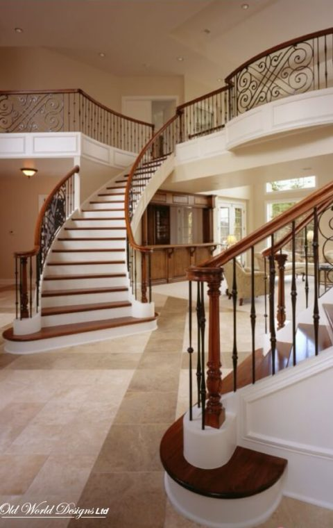 Symmetrical circular staircase  (metal and wood)
