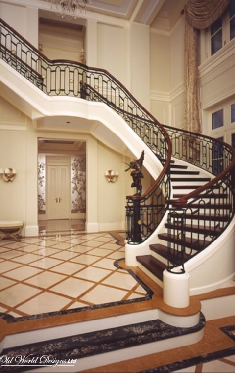 Grand circular staircase (metal and wood)