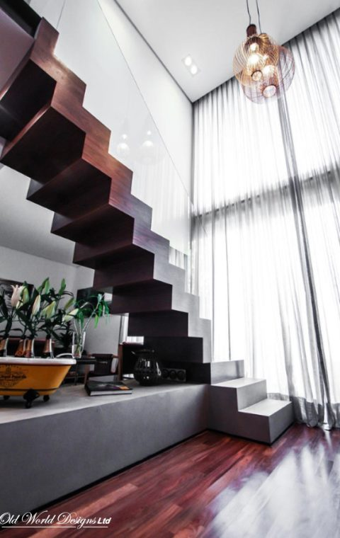 Smiros - Straight staircase (glass and wood)