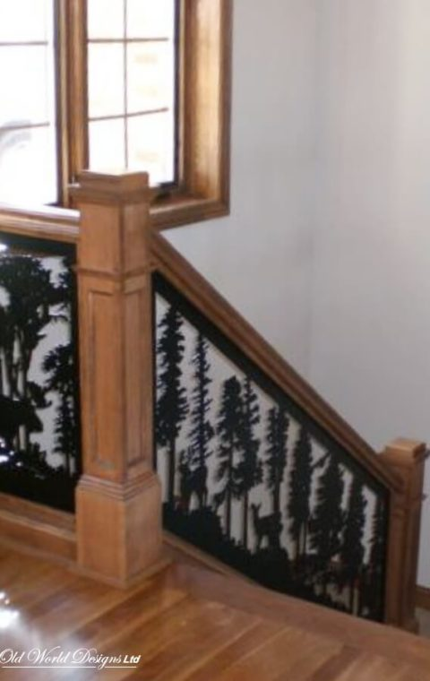 Straight staircase (iron and wood)
