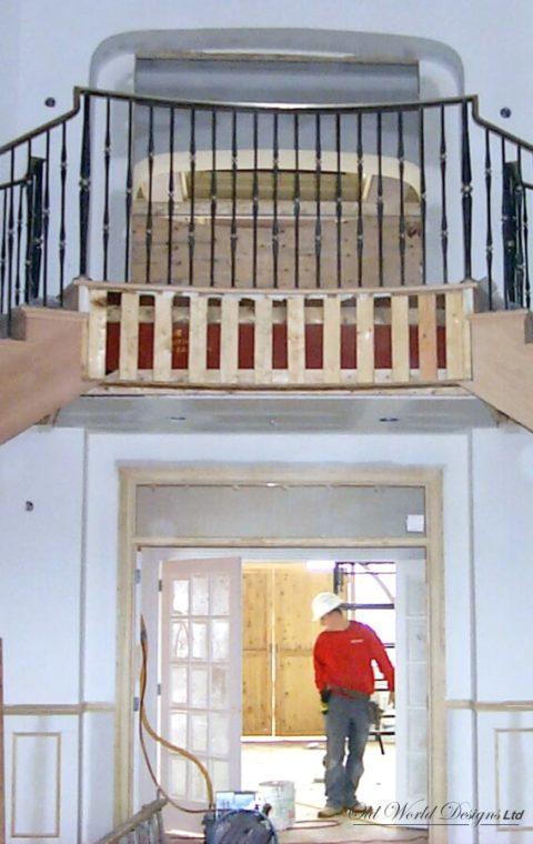 Brass top handrail - Symmetrical circular staircases (metal, wood)